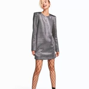{H&M} Silver Mini Dress With Shoulder Pads